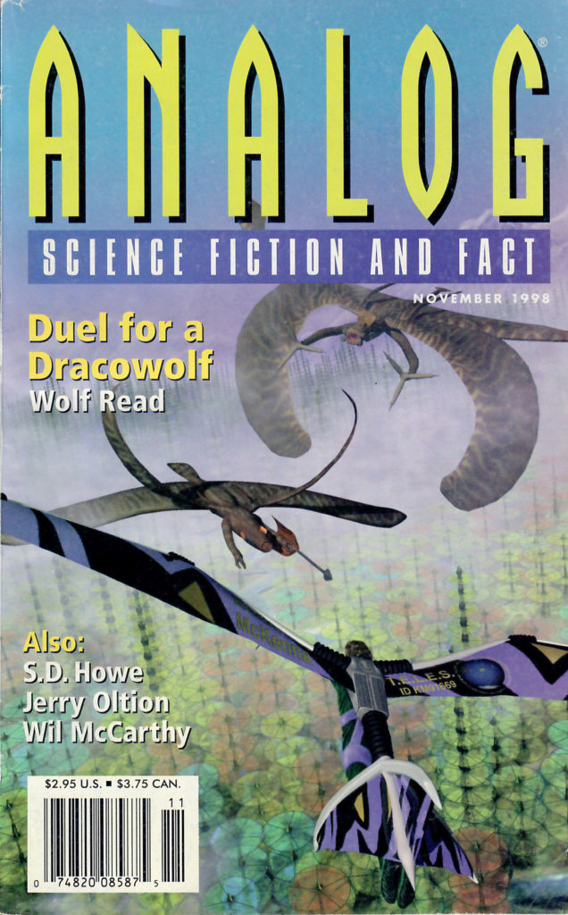 """Cover art for the novelette """"Duel for a Dracowolf"""", Analog Science Fiction and Fact, November 1998. Steven Hanly and Wolf Read."""
